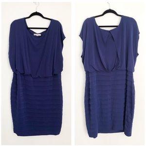 AA Studio blue short sleeve dress w pleated skirt